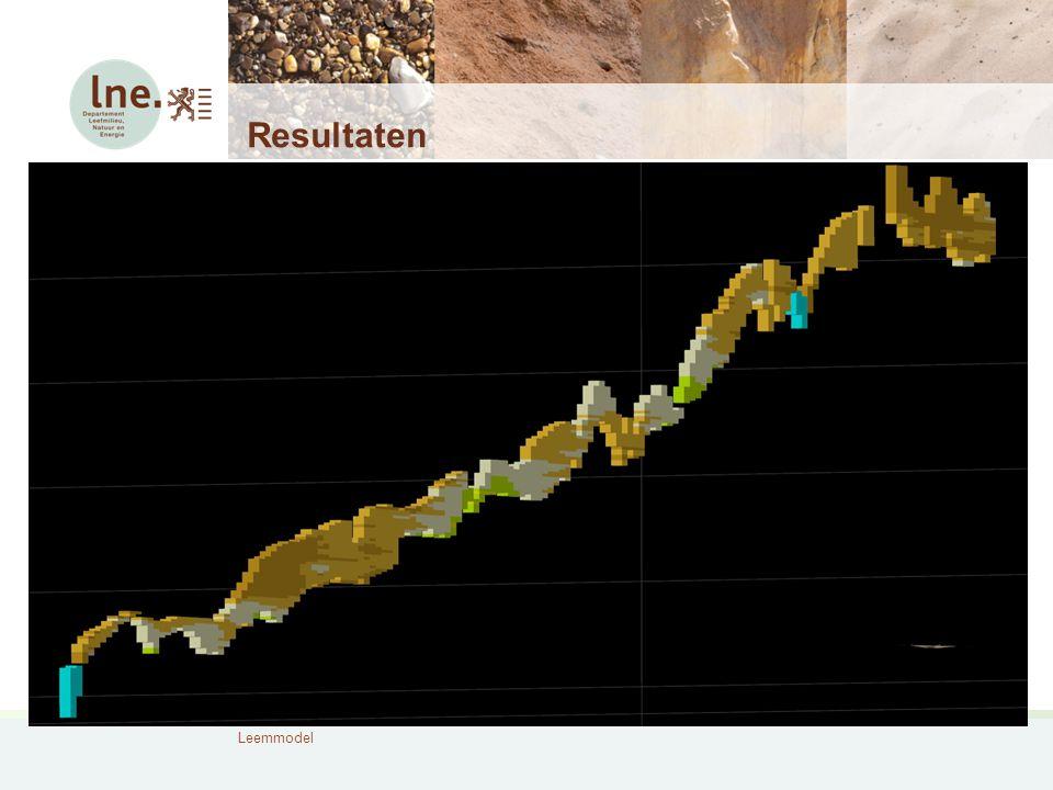 Leemmodel Resultaten 4 oost-west profielen doorheen een deelgebied, waarbij de interne lithologische opbouw te zien is