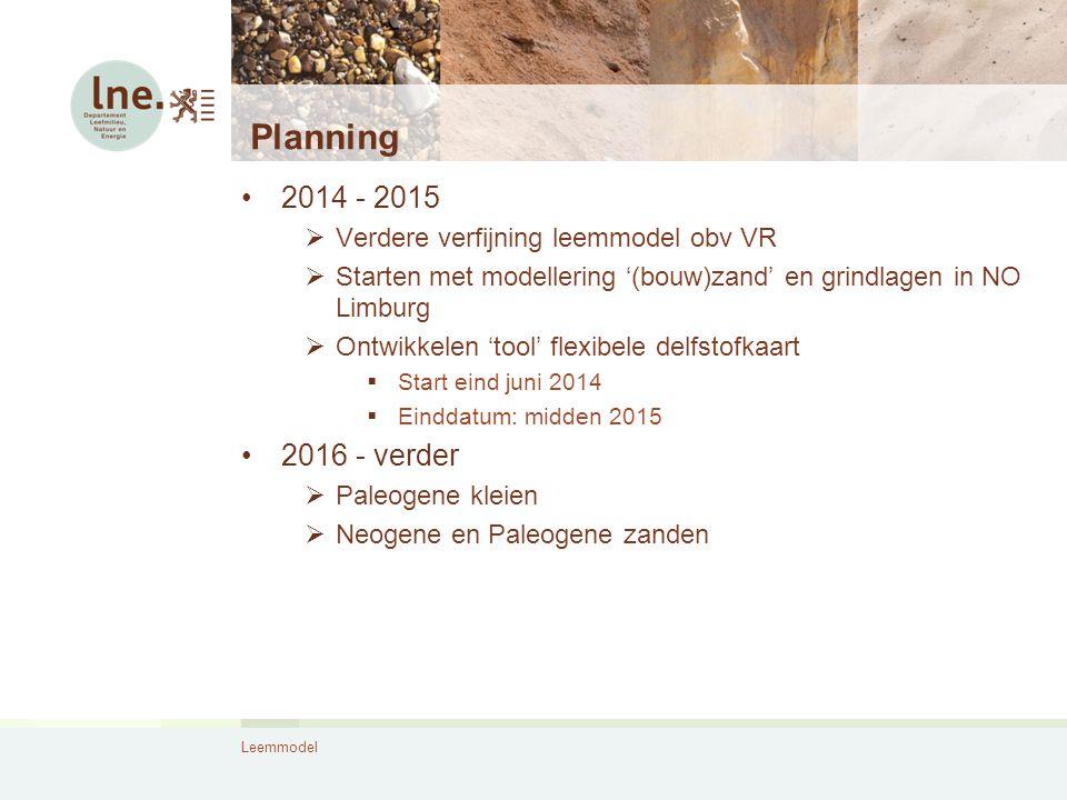 Leemmodel Planning 2014 - 2015  Verdere verfijning leemmodel obv VR  Starten met modellering '(bouw)zand' en grindlagen in NO Limburg  Ontwikkelen