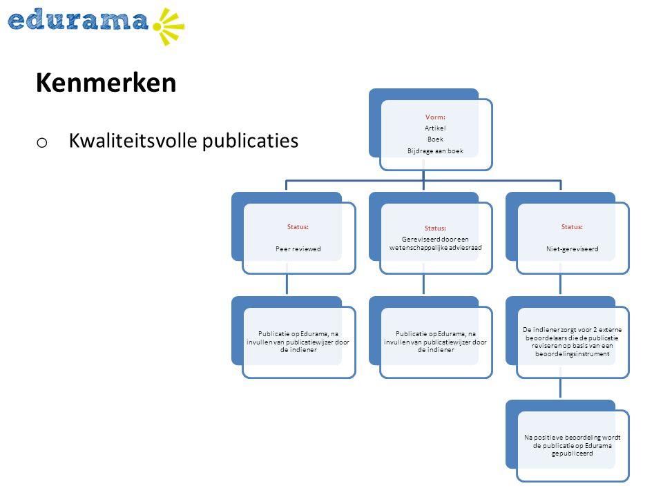 Vorm: Artikel Boek Bijdrage aan boek Status: Peer reviewed Publicatie op Edurama, na invullen van publicatiewijzer door de indiener Status: Gereviseer