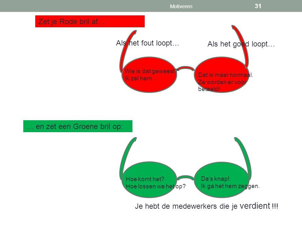 Zet je Rode bril af… … en zet een Groene bril op: Je hebt de medewerkers die je verdient !!! Als het fout loopt… Als het goed loopt… Wie is dat gewees