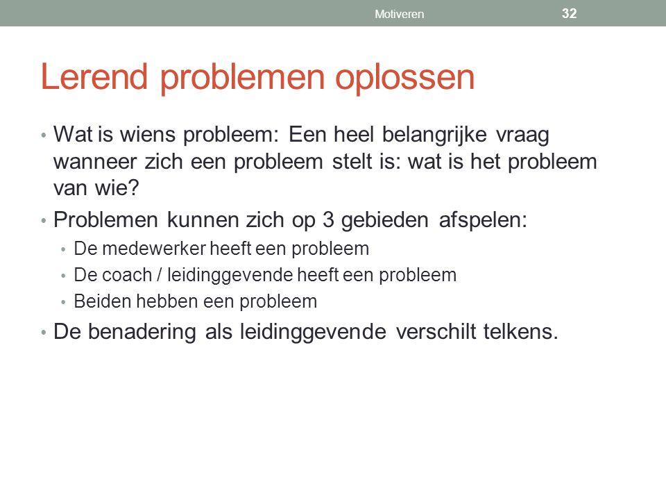 Lerend problemen oplossen Wat is wiens probleem: Een heel belangrijke vraag wanneer zich een probleem stelt is: wat is het probleem van wie? Problemen