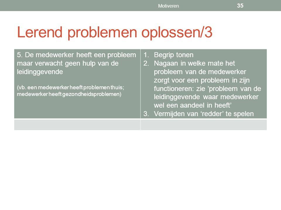 Lerend problemen oplossen/3 5. De medewerker heeft een probleem maar verwacht geen hulp van de leidinggevende (vb. een medewerker heeft problemen thui