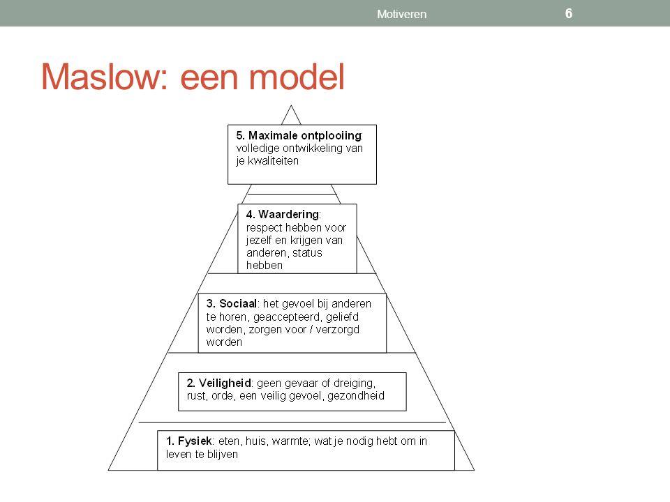 Maslow: een model Motiveren 6