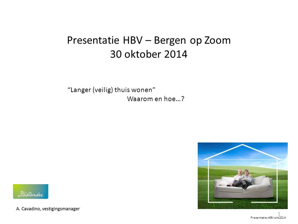"""Presentatie HBV – Bergen op Zoom 30 oktober 2014 """"Langer (veilig) thuis wonen"""" Waarom en hoe…? 1 Presentatie-HBV-okt2014"""