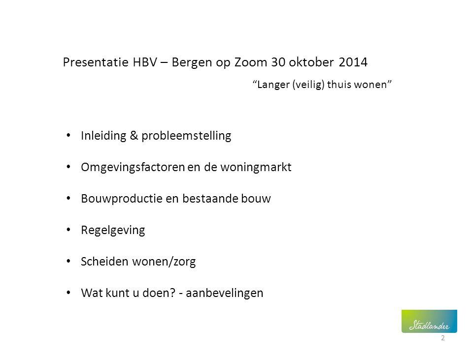 Presentatie HBV – Bergen op Zoom 30 oktober 2014 Inleiding & probleemstelling Omgevingsfactoren en de woningmarkt Bouwproductie en bestaande bouw Rege