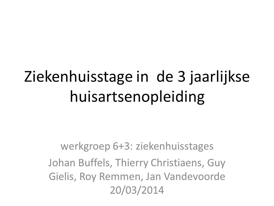 Ziekenhuisstage in de 3 jaarlijkse huisartsenopleiding werkgroep 6+3: ziekenhuisstages Johan Buffels, Thierry Christiaens, Guy Gielis, Roy Remmen, Jan Vandevoorde 20/03/2014