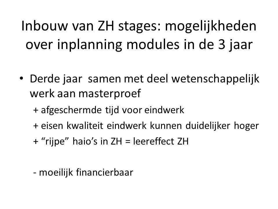 Inbouw van ZH stages: mogelijkheden over inplanning modules in de 3 jaar Derde jaar samen met deel wetenschappelijk werk aan masterproef + afgeschermde tijd voor eindwerk + eisen kwaliteit eindwerk kunnen duidelijker hoger + rijpe haio's in ZH = leereffect ZH - moeilijk financierbaar