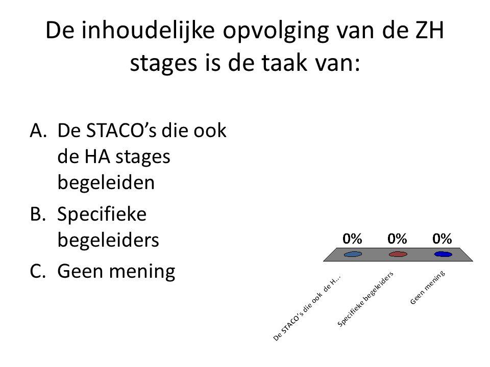 De inhoudelijke opvolging van de ZH stages is de taak van: A.De STACO's die ook de HA stages begeleiden B.Specifieke begeleiders C.Geen mening