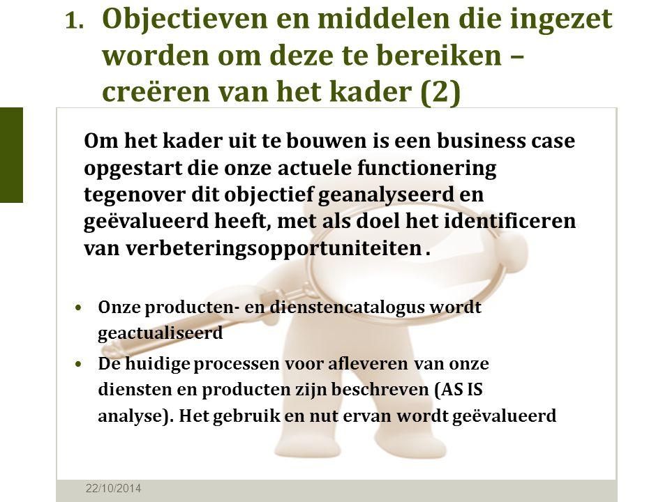 1. Objectieven en middelen die ingezet worden om deze te bereiken – creëren van het kader (2) 22/10/2014 Onze producten- en dienstencatalogus wordt ge