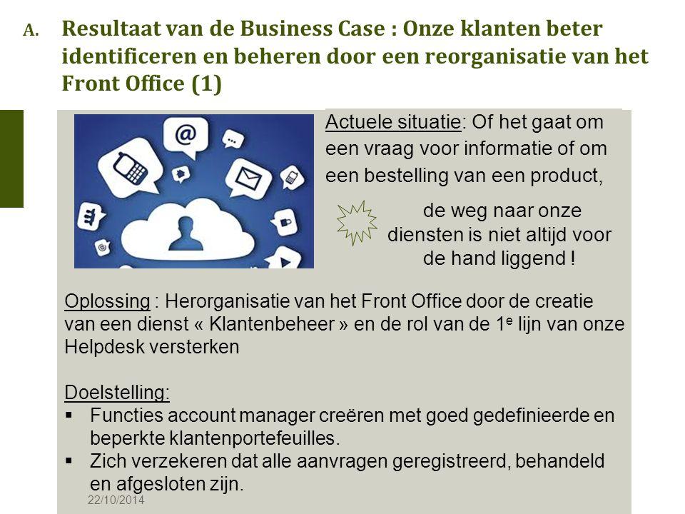 A. Resultaat van de Business Case : Onze klanten beter identificeren en beheren door een reorganisatie van het Front Office (1) Actuele situatie: Of h