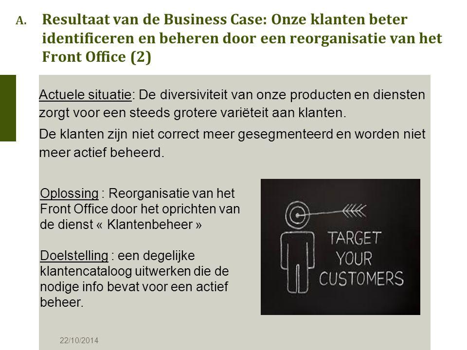 A. Resultaat van de Business Case: Onze klanten beter identificeren en beheren door een reorganisatie van het Front Office (2) Actuele situatie: De di
