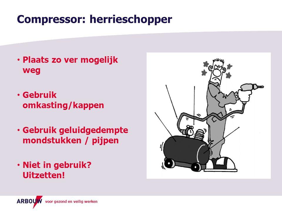 voor gezond en veilig werken Compressor: herrieschopper Plaats zo ver mogelijk weg Gebruik omkasting/kappen Gebruik geluidgedempte mondstukken / pijpe