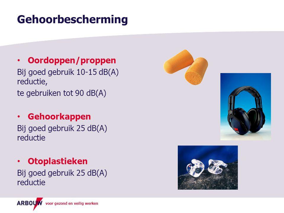 voor gezond en veilig werken Gehoorbescherming Oordoppen/proppen Bij goed gebruik 10-15 dB(A) reductie, te gebruiken tot 90 dB(A) Gehoorkappen Bij goe