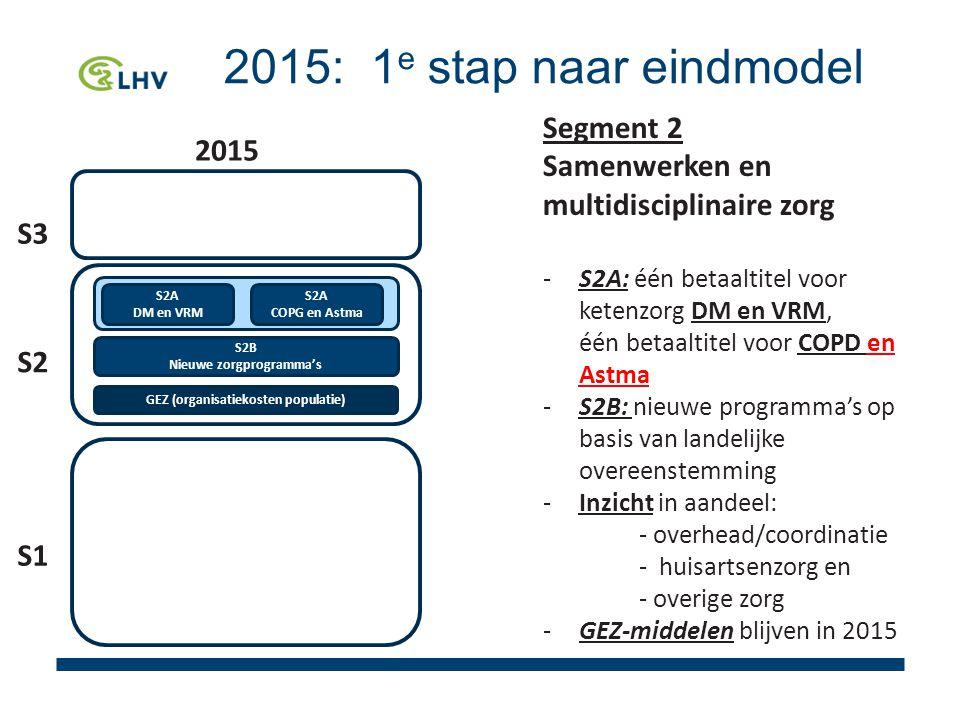 2015: 1 e stap naar eindmodel GEZ (organisatiekosten populatie) S2A DM en VRM S2A COPG en Astma S2B Nieuwe zorgprogramma's 2015 S3 S1 S2 Segment 2 Samenwerken en multidisciplinaire zorg -S2A: één betaaltitel voor ketenzorg DM en VRM, één betaaltitel voor COPD en Astma -S2B: nieuwe programma's op basis van landelijke overeenstemming -Inzicht in aandeel: - overhead/coordinatie - huisartsenzorg en - overige zorg -GEZ-middelen blijven in 2015