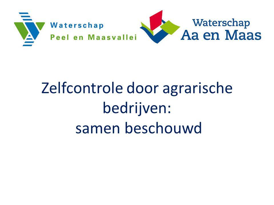 Project regio Brabant Noord Samenwerking ZLTO, 11 gemeenten in de regio Brabant Noord, 2 Waterschappen, Provincie, nVWA en RMB Looptijd: 1 maart 2012 t/m 31 december 2012 Op grote schaal (470 bedrijven) testen van de zelfcontrole in de praktijk Wanneer positief invoeren als standaard werkwijze