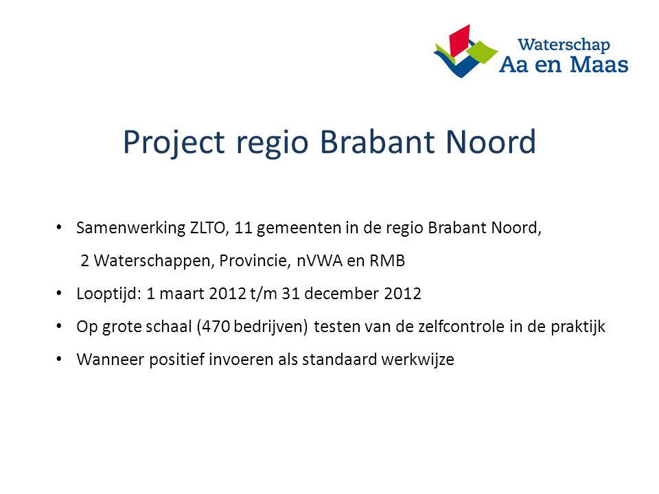 Project regio Brabant Noord Samenwerking ZLTO, 11 gemeenten in de regio Brabant Noord, 2 Waterschappen, Provincie, nVWA en RMB Looptijd: 1 maart 2012