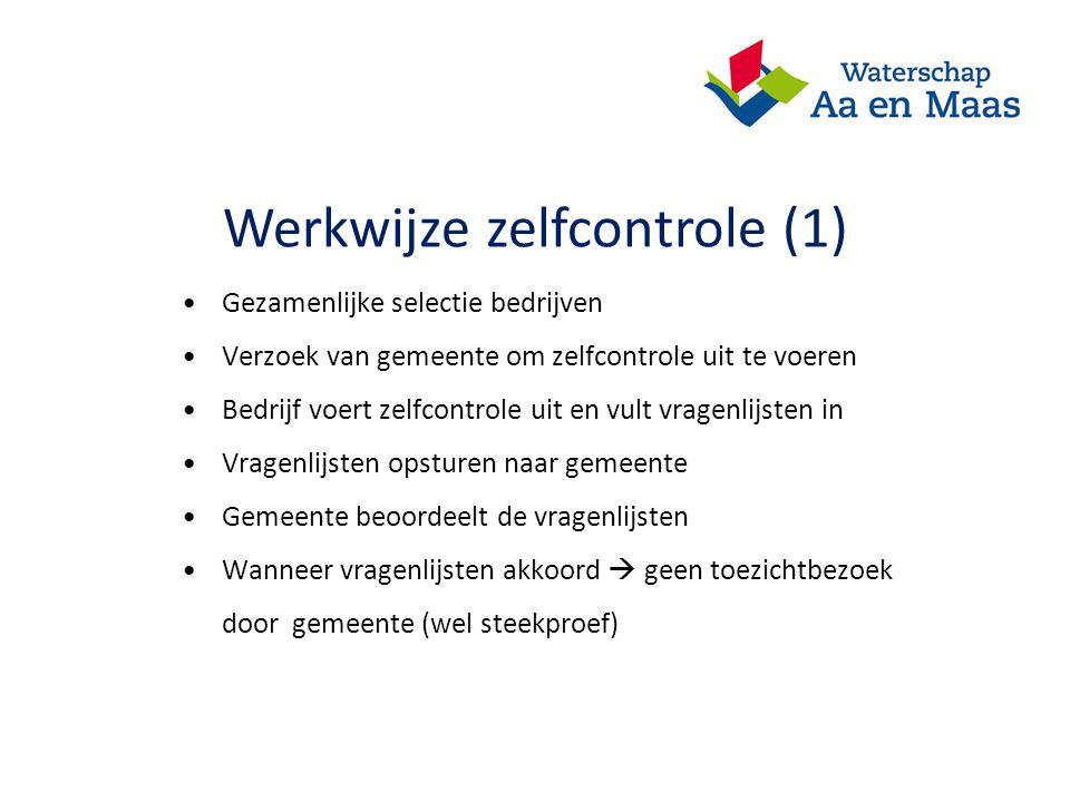 Werkwijze zelfcontrole (1) Gezamenlijke selectie bedrijven Verzoek van gemeente om zelfcontrole uit te voeren Bedrijf voert zelfcontrole uit en vult v