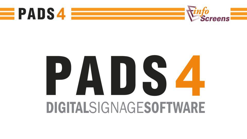 PADS4 maakt het eenvoudig om informatie te verspreiden naar een specifiek publiek op de juiste plaats en het juiste moment PADS4 is een professionele oplossing waarbij bestaande content kan worden hergebruikt PADS4 stelt u in staat om een professioneel digital signage systeem op te zetten, of het nu gaat om 1 of duizenden schermen