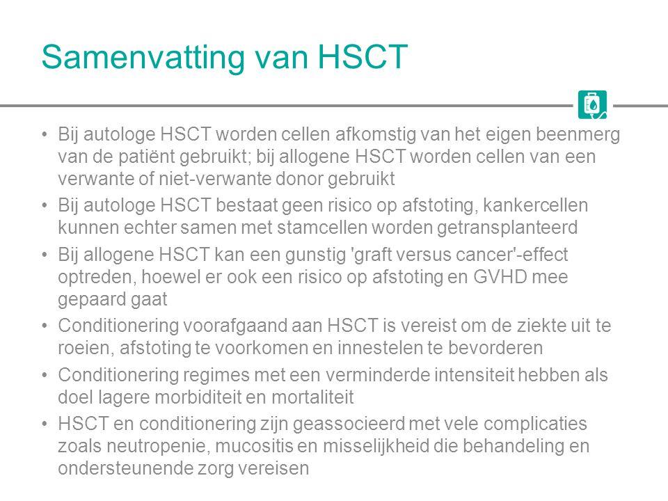 Samenvatting van HSCT Bij autologe HSCT worden cellen afkomstig van het eigen beenmerg van de patiënt gebruikt; bij allogene HSCT worden cellen van ee