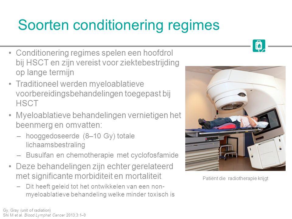 Soorten conditionering regimes Conditionering regimes spelen een hoofdrol bij HSCT en zijn vereist voor ziektebestrijding op lange termijn Traditionee