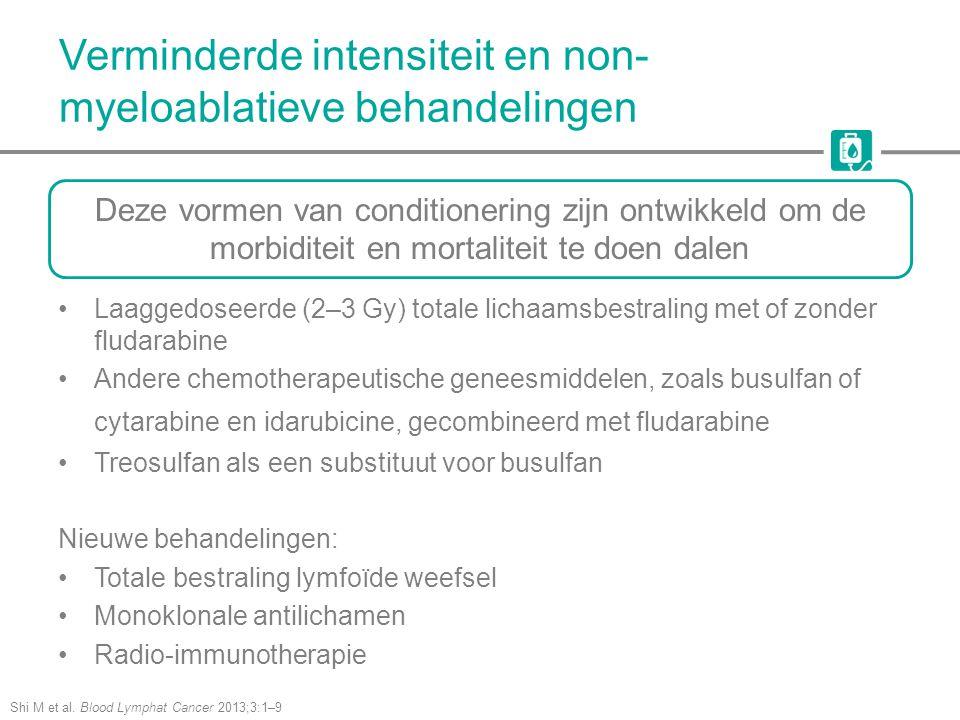 Verminderde intensiteit en non- myeloablatieve behandelingen Shi M et al. Blood Lymphat Cancer 2013;3:1–9 Laaggedoseerde (2–3 Gy) totale lichaamsbestr