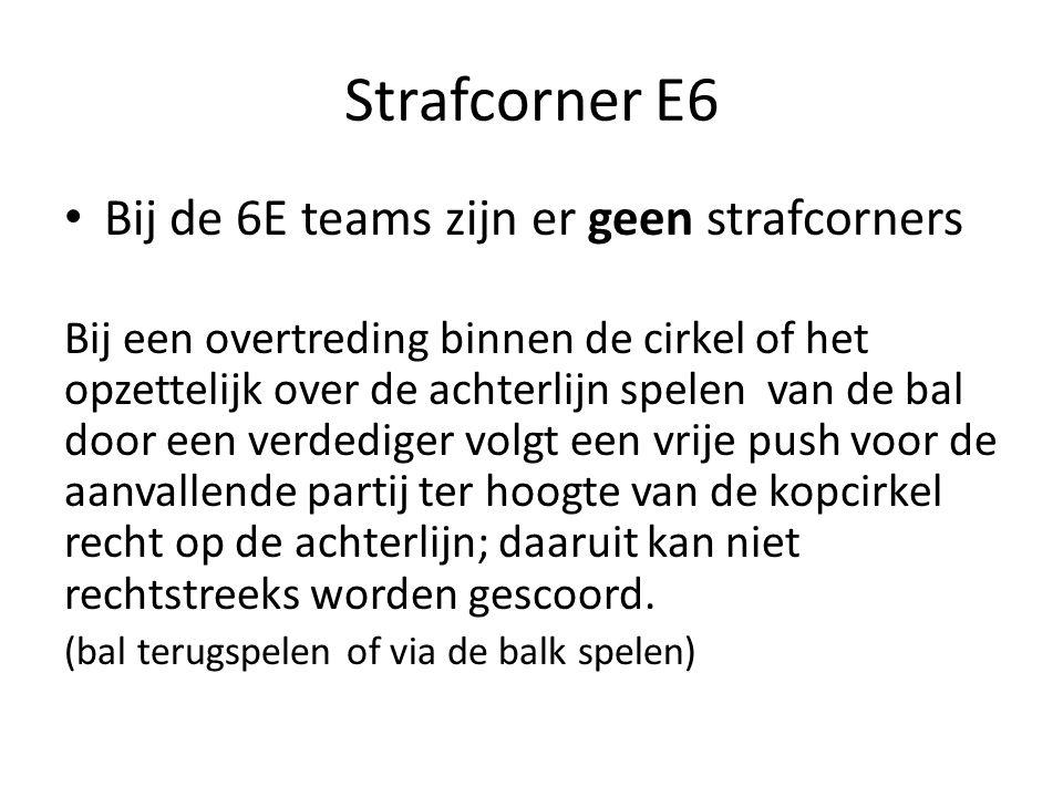 Strafcorner E6 Bij de 6E teams zijn er geen strafcorners Bij een overtreding binnen de cirkel of het opzettelijk over de achterlijn spelen van de bal