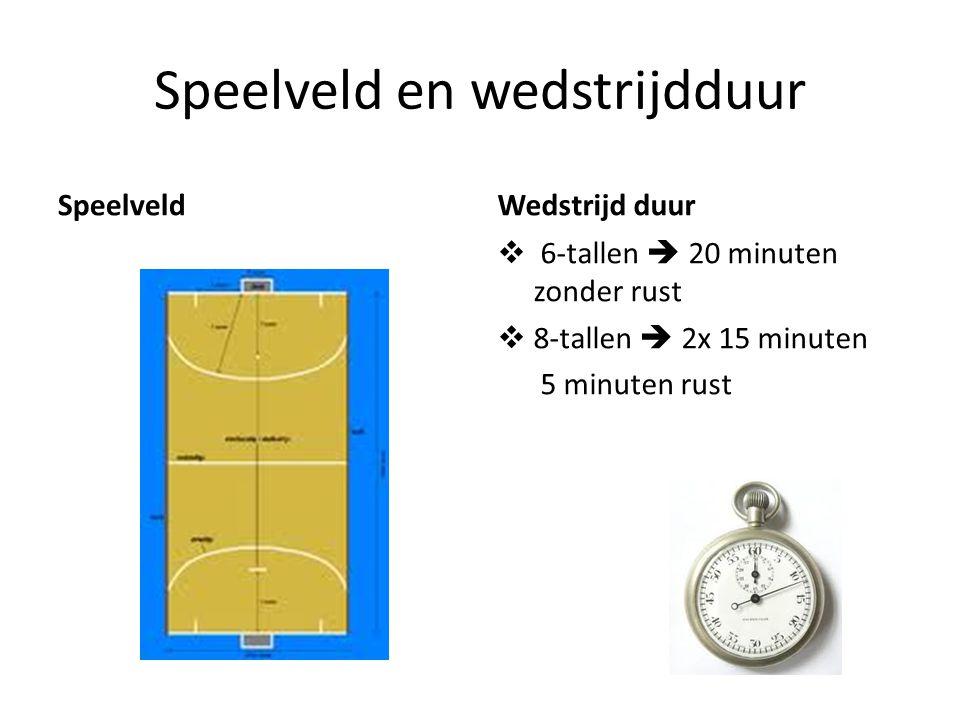 Speelveld en wedstrijdduur SpeelveldWedstrijd duur  6-tallen  20 minuten zonder rust  8-tallen  2x 15 minuten 5 minuten rust