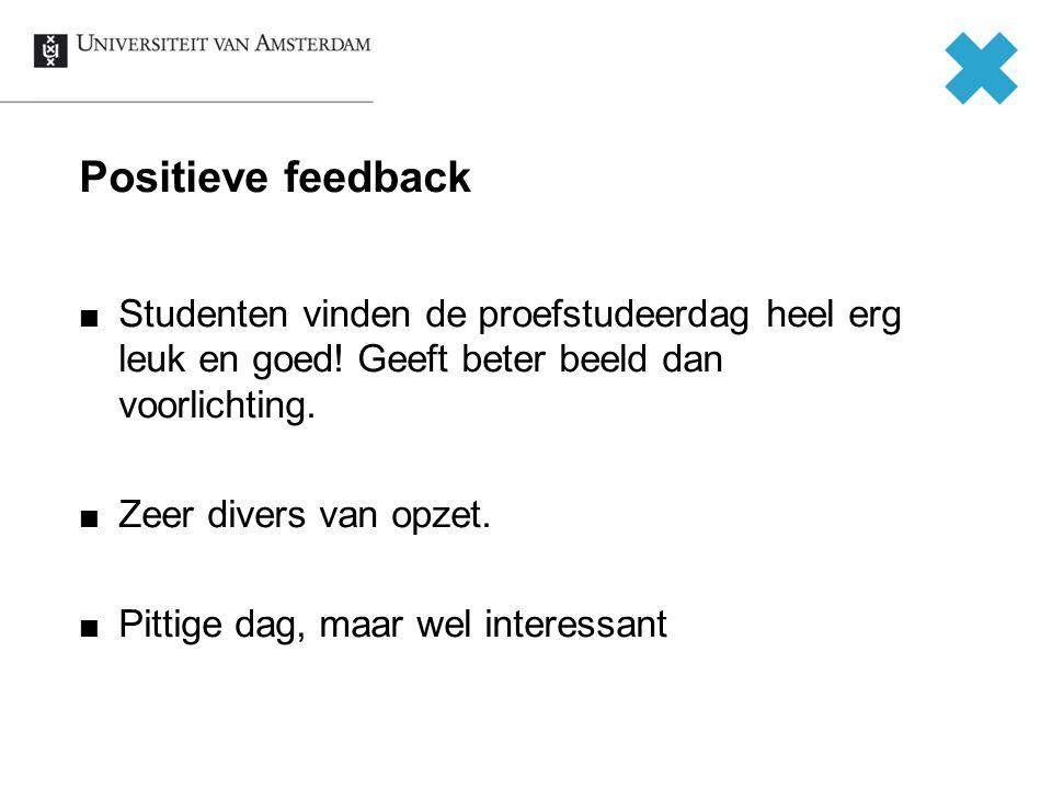 Positieve feedback Studenten vinden de proefstudeerdag heel erg leuk en goed! Geeft beter beeld dan voorlichting. Zeer divers van opzet. Pittige dag,