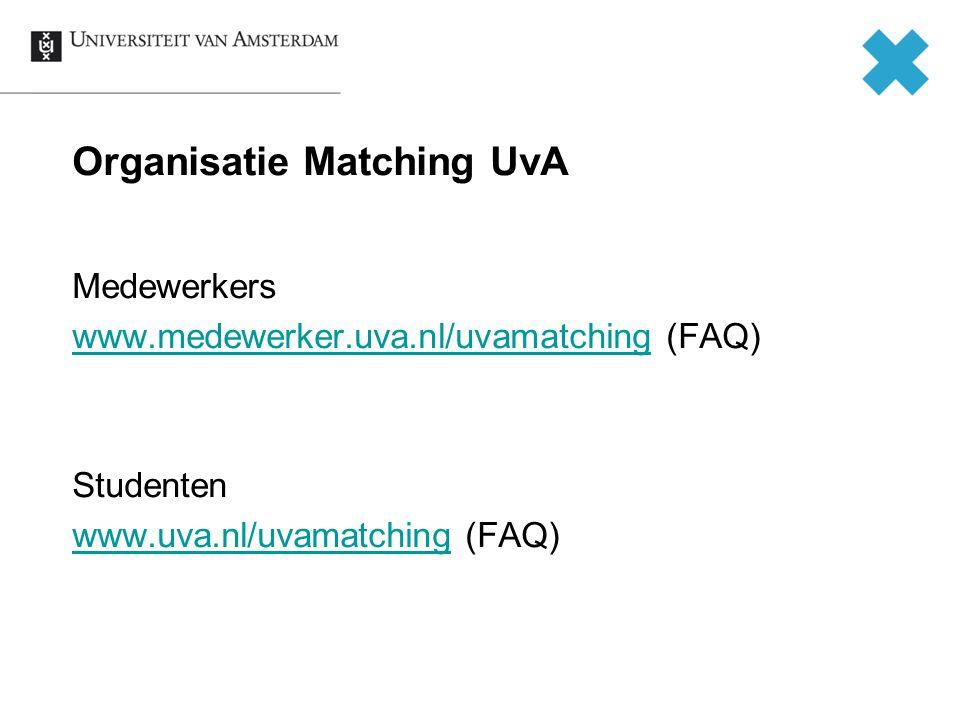 Organisatie Matching UvA Medewerkers www.medewerker.uva.nl/uvamatchingwww.medewerker.uva.nl/uvamatching (FAQ) Studenten www.uva.nl/uvamatchingwww.uva.nl/uvamatching (FAQ)