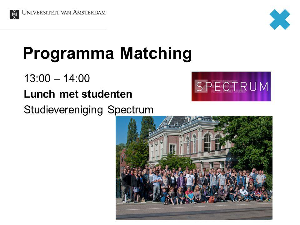 Programma Matching 13:00 – 14:00 Lunch met studenten Studievereniging Spectrum