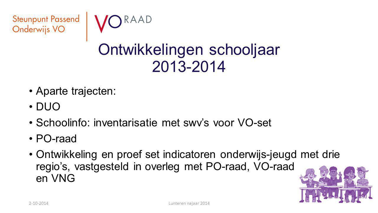 Ontwikkelingen schooljaar 2013-2014 Aparte trajecten: DUO Schoolinfo: inventarisatie met swv's voor VO-set PO-raad Ontwikkeling en proef set indicator
