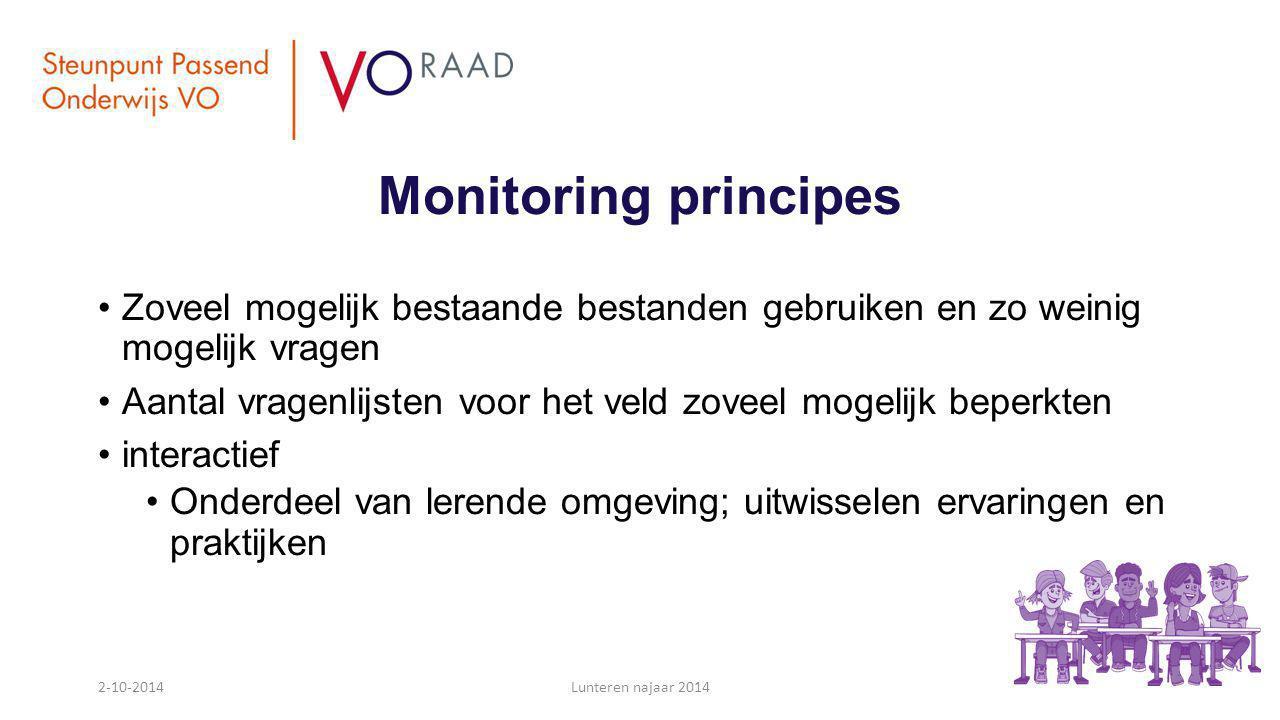 Monitoring principes Zoveel mogelijk bestaande bestanden gebruiken en zo weinig mogelijk vragen Aantal vragenlijsten voor het veld zoveel mogelijk bep
