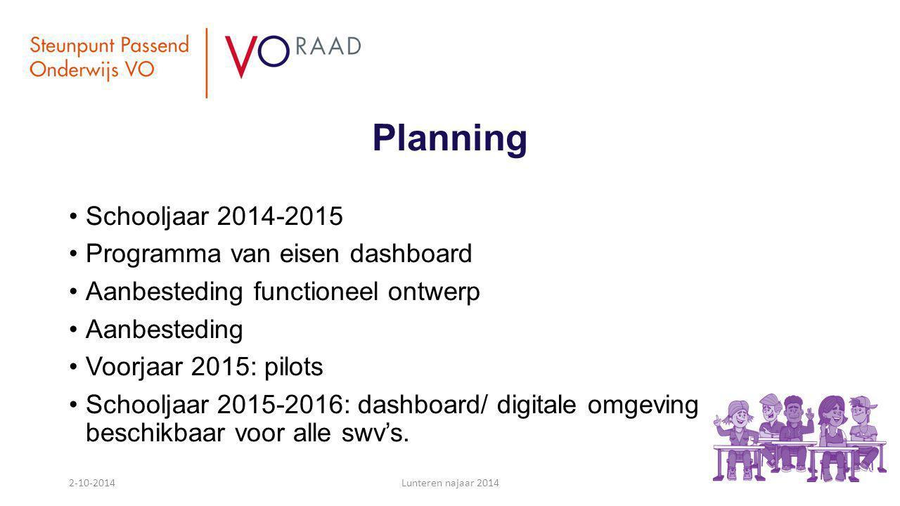 Planning Schooljaar 2014-2015 Programma van eisen dashboard Aanbesteding functioneel ontwerp Aanbesteding Voorjaar 2015: pilots Schooljaar 2015-2016: