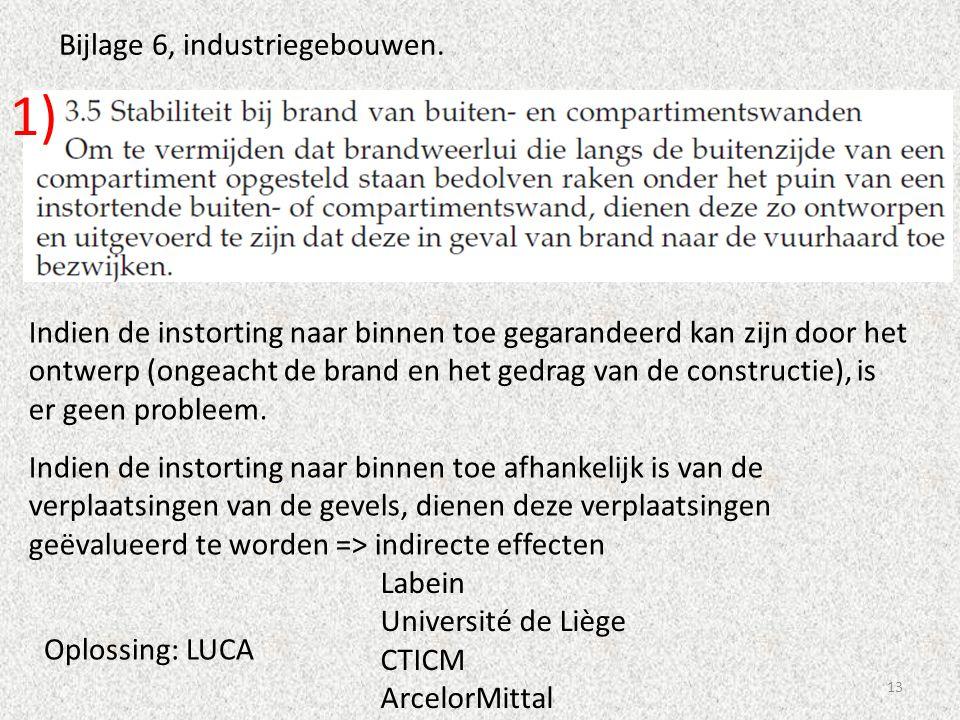 13 Bijlage 6, industriegebouwen. Indien de instorting naar binnen toe gegarandeerd kan zijn door het ontwerp (ongeacht de brand en het gedrag van de c
