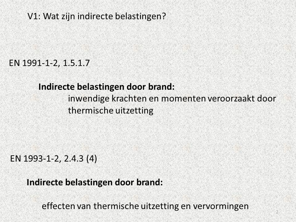 2 V1: Wat zijn indirecte belastingen? EN 1993-1-2, 2.4.3 (4) Indirecte belastingen door brand: effecten van thermische uitzetting en vervormingen EN 1