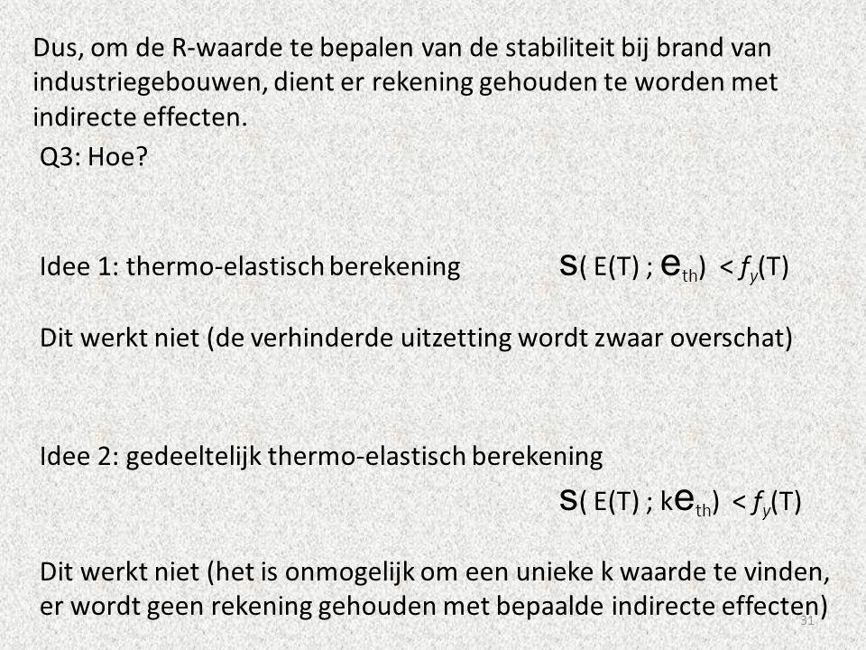 31 Dus, om de R-waarde te bepalen van de stabiliteit bij brand van industriegebouwen, dient er rekening gehouden te worden met indirecte effecten. Q3: