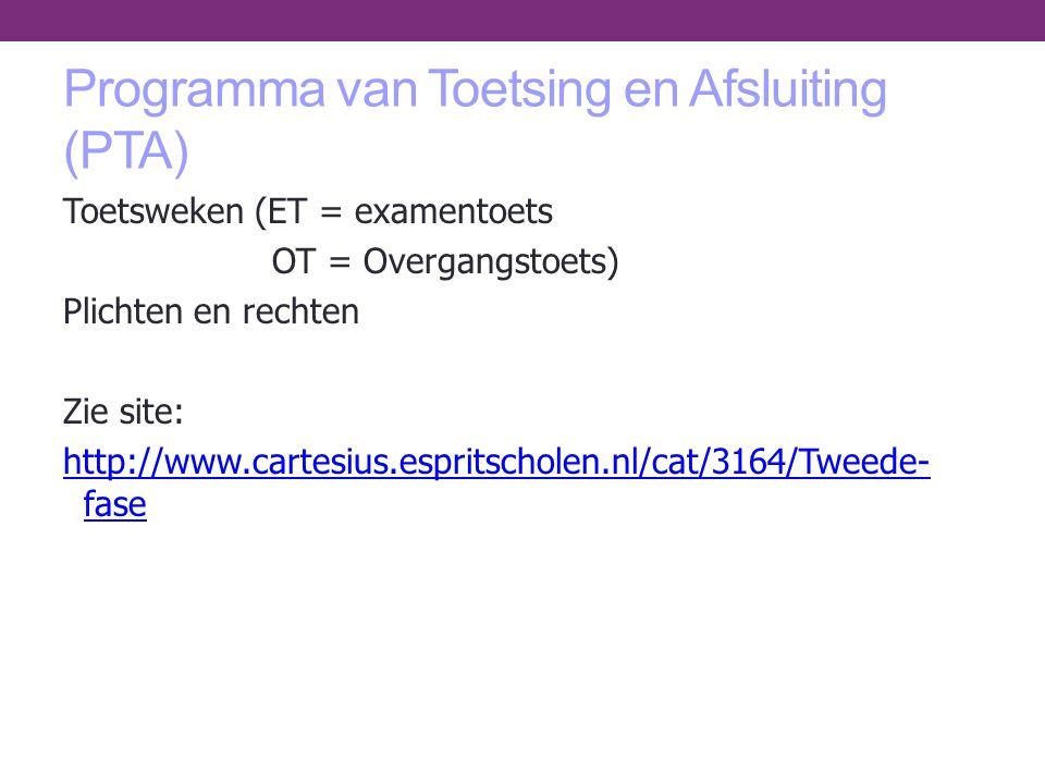 Programma van Toetsing en Afsluiting (PTA) Toetsweken (ET = examentoets OT = Overgangstoets) Plichten en rechten Zie site: http://www.cartesius.esprit