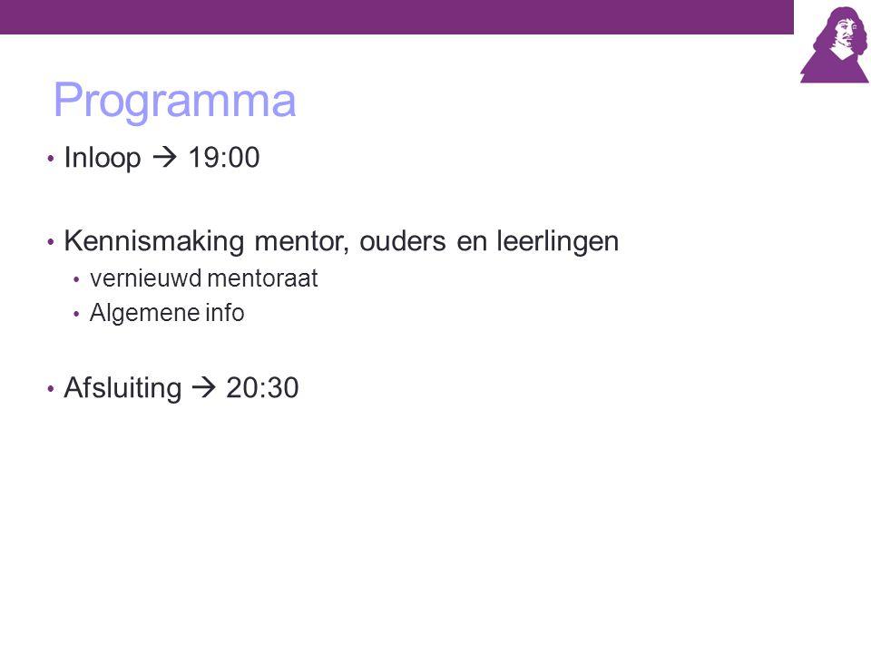 Programma Inloop  19:00 Kennismaking mentor, ouders en leerlingen vernieuwd mentoraat Algemene info Afsluiting  20:30