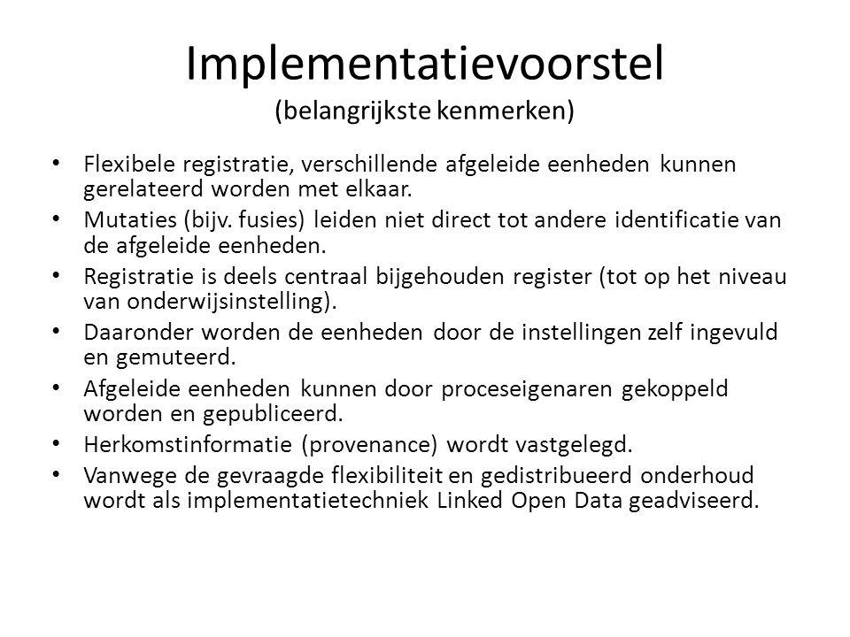 Implementatievoorstel (belangrijkste kenmerken) Flexibele registratie, verschillende afgeleide eenheden kunnen gerelateerd worden met elkaar. Mutaties