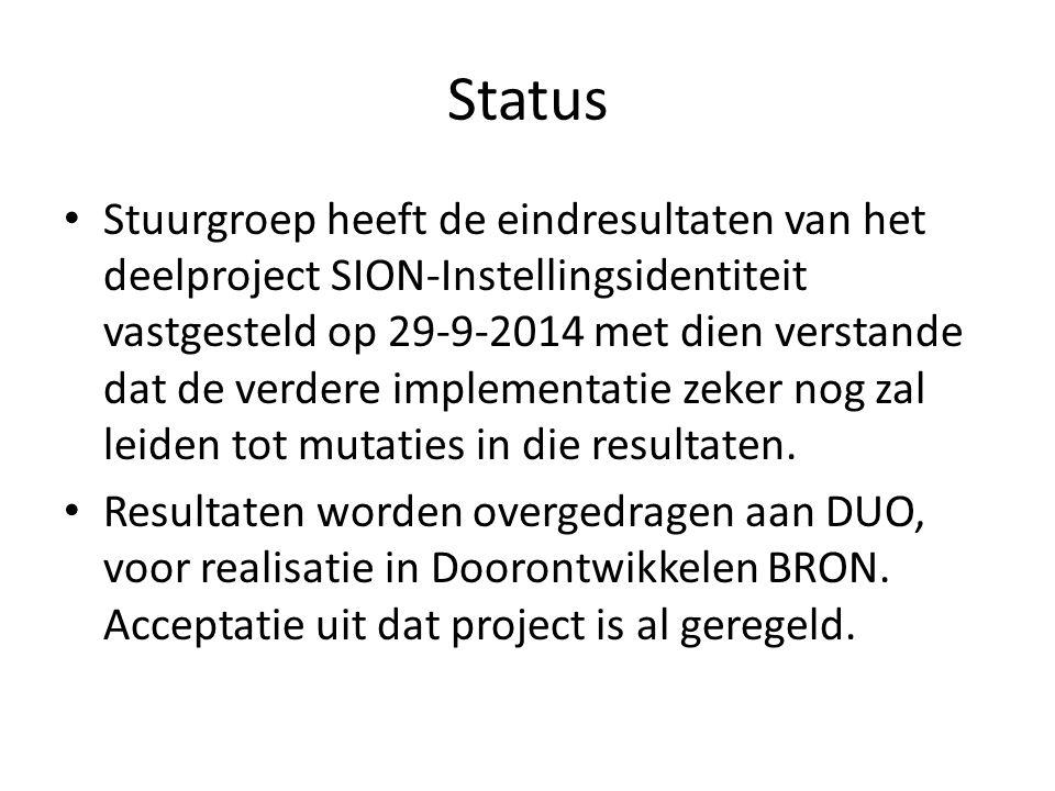 Status Stuurgroep heeft de eindresultaten van het deelproject SION-Instellingsidentiteit vastgesteld op 29-9-2014 met dien verstande dat de verdere implementatie zeker nog zal leiden tot mutaties in die resultaten.