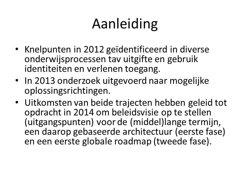 Aanleiding Knelpunten in 2012 geïdentificeerd in diverse onderwijsprocessen tav uitgifte en gebruik identiteiten en verlenen toegang. In 2013 onderzoe