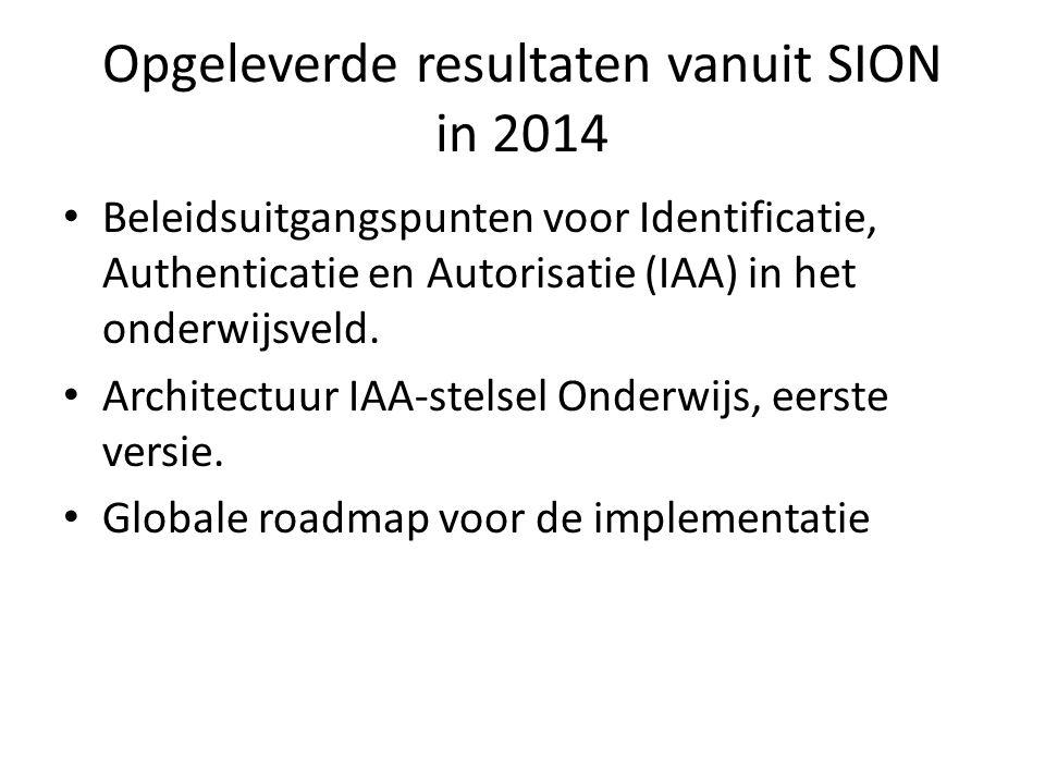 Opgeleverde resultaten vanuit SION in 2014 Beleidsuitgangspunten voor Identificatie, Authenticatie en Autorisatie (IAA) in het onderwijsveld. Architec