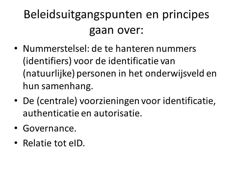 Beleidsuitgangspunten en principes gaan over: Nummerstelsel: de te hanteren nummers (identifiers) voor de identificatie van (natuurlijke) personen in het onderwijsveld en hun samenhang.