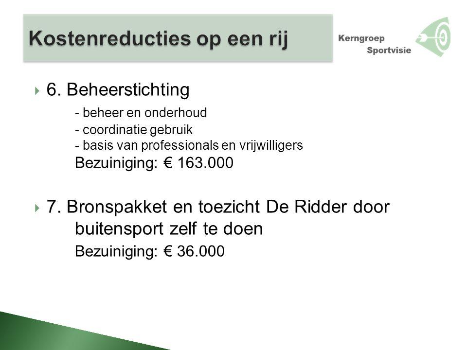  6. Beheerstichting - beheer en onderhoud - coordinatie gebruik - basis van professionals en vrijwilligers Bezuiniging: € 163.000  7. Bronspakket en