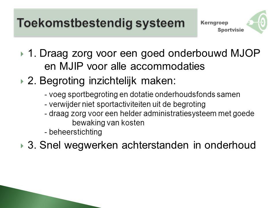  1. Draag zorg voor een goed onderbouwd MJOP en MJIP voor alle accommodaties  2. Begroting inzichtelijk maken: - voeg sportbegroting en dotatie onde