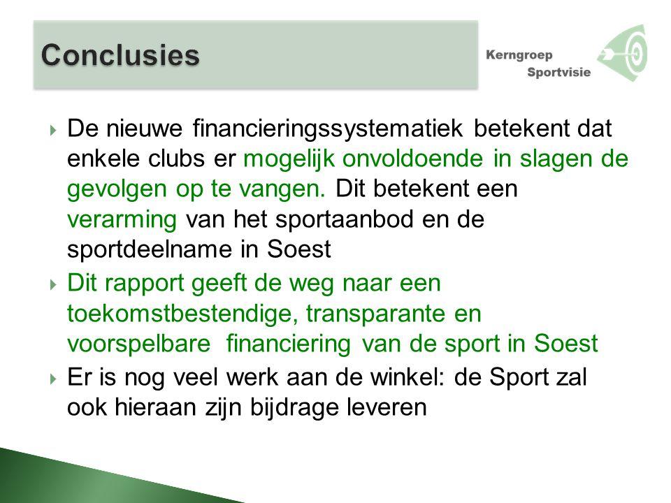  De nieuwe financieringssystematiek betekent dat enkele clubs er mogelijk onvoldoende in slagen de gevolgen op te vangen. Dit betekent een verarming