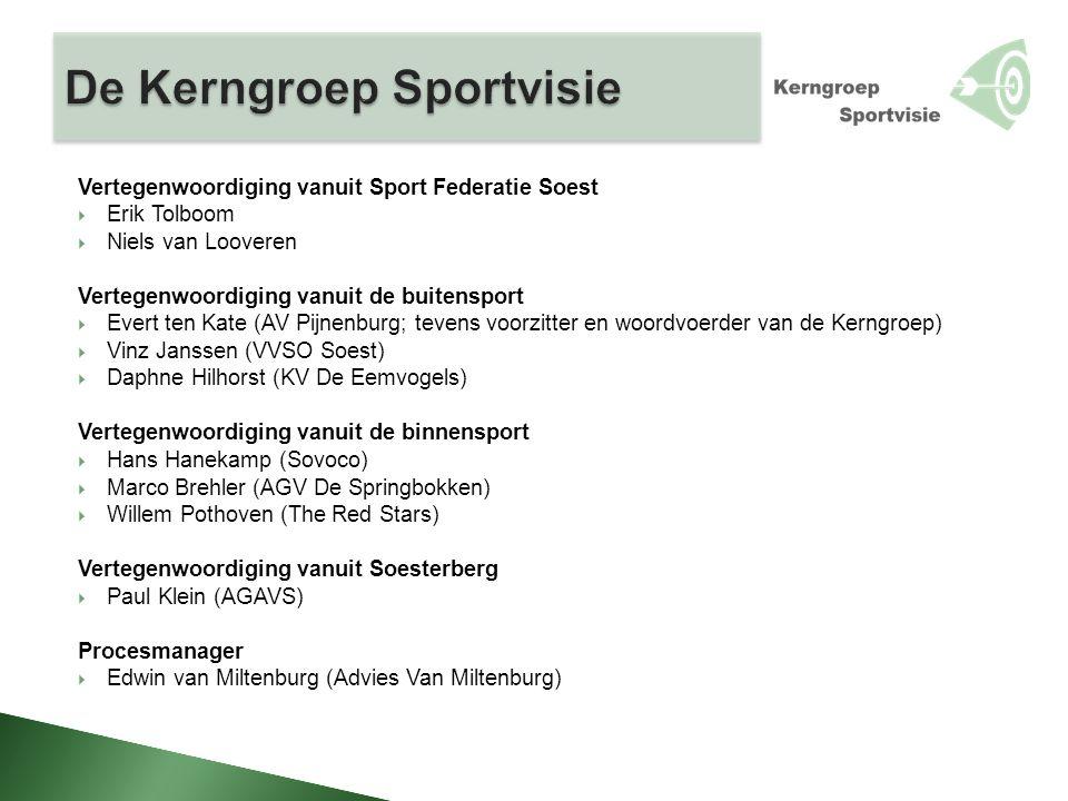 Vertegenwoordiging vanuit Sport Federatie Soest  Erik Tolboom  Niels van Looveren Vertegenwoordiging vanuit de buitensport  Evert ten Kate (AV Pijn