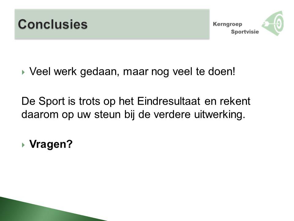  Veel werk gedaan, maar nog veel te doen! De Sport is trots op het Eindresultaat en rekent daarom op uw steun bij de verdere uitwerking.  Vragen?