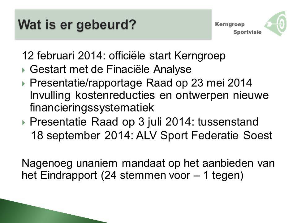 12 februari 2014: officiële start Kerngroep  Gestart met de Finaciële Analyse  Presentatie/rapportage Raad op 23 mei 2014 Invulling kostenreducties
