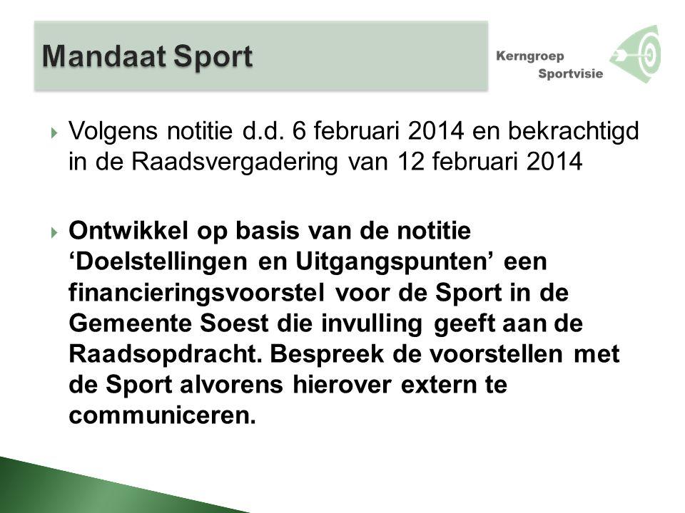  Volgens notitie d.d. 6 februari 2014 en bekrachtigd in de Raadsvergadering van 12 februari 2014  Ontwikkel op basis van de notitie 'Doelstellingen